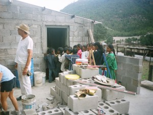 Children lining up for lunch