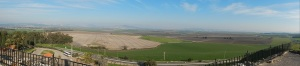 View from the top of Tel Megiddo. Ancient major highways from Africa, Asia and Europe converge here.